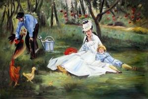 Edouard Manet - Rodzina Monet w ogrodzie